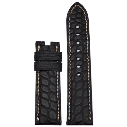 22mm Black Padded Genuine Alligator Flank with Caoutchouc Coating For Panerai Deploy | Panatime.com