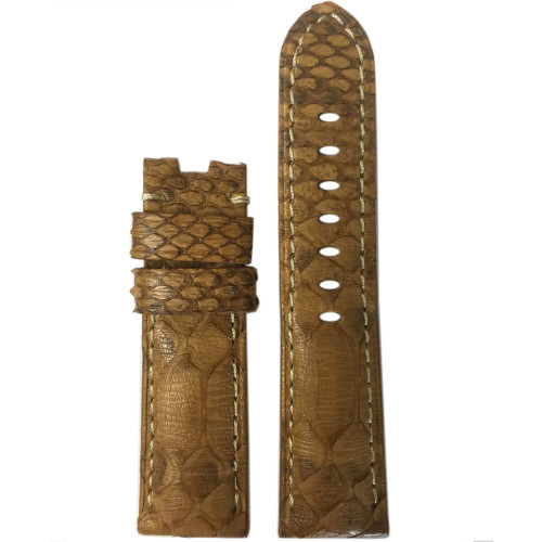 22mm Golden Java Rock Python Watch Strap with White Stitching for Panerai Deploy | Panatime.com