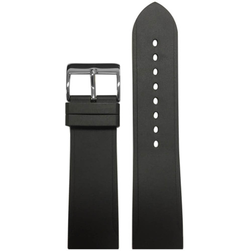24mm Black Bonetto Cinturini Model 316 Beveled Edge Diver- Genuine NBR Italian Rubber Watch Strap | Panatime.com