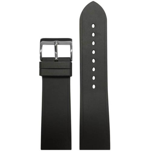 24mm Black Bonetto Cinturini Model 316 Beveled Edge Diver- Genuine NBR Italian Rubber Watch Strap | Panatime.com