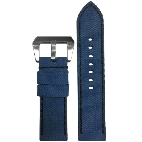 24mm Gunny Blue Canvas Watch Strap with Black Stitching for Panerai | Panatime.com