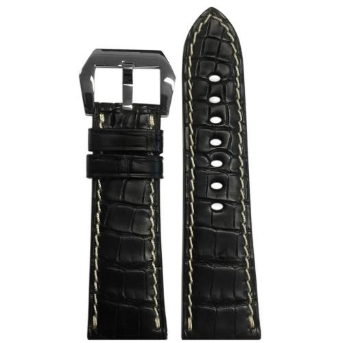 26mm (XL) Black Matte Genuine Alligator Fullcut Watch Strap with White Stitching for Panerai Radiomir | Panatime.com
