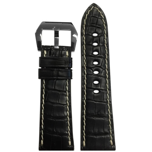 26mm (XL) Black Matte Genuine Alligator Fullcut Watch Strap with White Stitching for Panerai Radiomir | Panatime.com