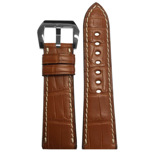 26mm (XL) Cognac Matte Genuine Alligator Fullcut Watch Strap with White Stitching for Panerai Radiomir | Panatime.com