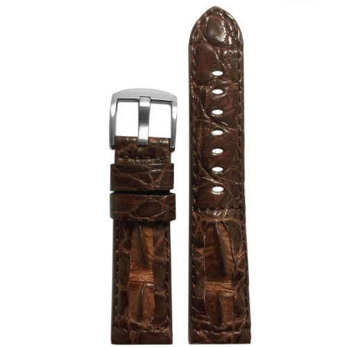 "24mm Brown ""OutBack"" Genuine Crocodile Hornback Watch Strap 