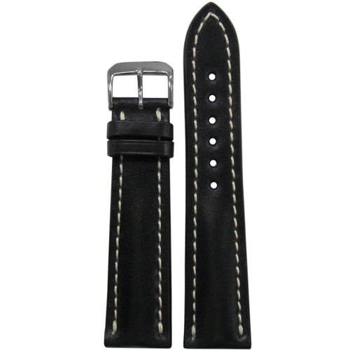 24mm Black Genuine Shell Cordovan Leather Watch Strap with White Stitching for Breitling (24x20) | Panatime.com