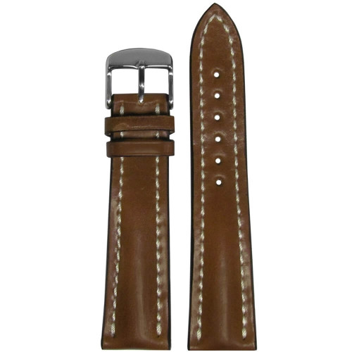 24mm Cognac Genuine Shell Cordovan Leather Watch Strap with White Stitching for Breitling (24x20) | Panatime.com