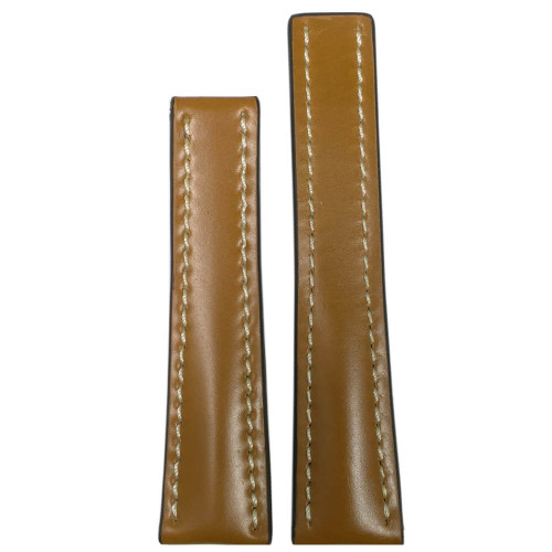 22mm Honey Genuine Shell Cordovan Leather Watch Strap with White Stitching for Breitling Deploy (22x18) | Panatime.com