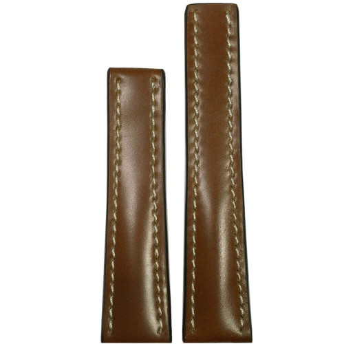 20mm Cognac Genuine Shell Cordovan Leather Watch Strap with White Stitching for Breitling Deploy (20x18)   Panatime.com