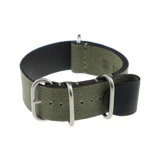 Olive Drab RIOS1931 Warsaw, Genuine Canvas Nato (4 Brushed Rings)