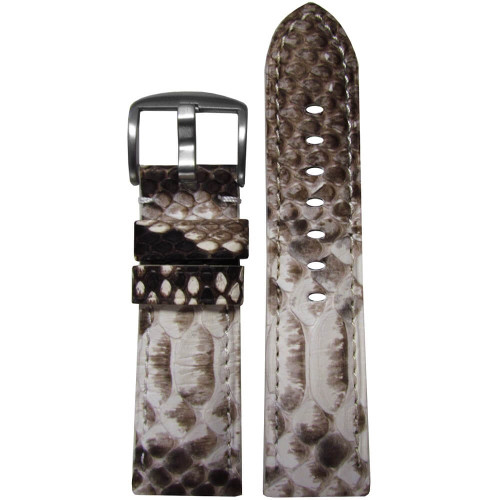 24mm (XL) White Genuine Java Rock Python Skin Padded Watch Strap with Match Stitching | Panatime.com