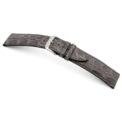 RIOS1931 Stone Grey Lord Genuine Glossy Crocodile Watch Strap | Panatime.com