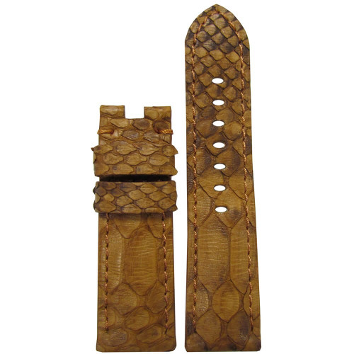22mm (XL) Golden Java Rock Python Watch Strap with Match Stitching for Panerai Deploy | Panatime.com
