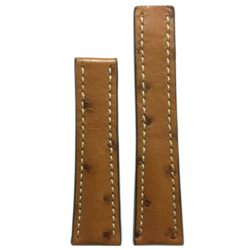 22mm Natural Genuine Ostrich Watch Strap with White Stitching for Breitling Deploy (22x18) | Panatime.com