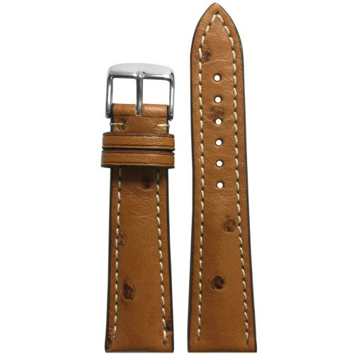 20mm Natural Ostrich Watch Strap with White Stitching for Breitling (20x18) | Panatime.com