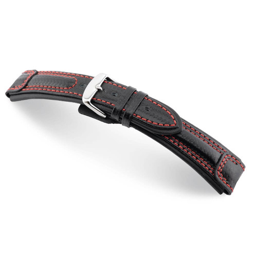 Black RIOS1931 Monza, Carbon Sport Watch Band with Red Stitching | Panatime.com
