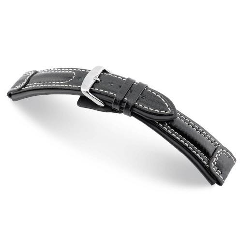 Black RIOS1931 Silverstone, Carbon Sport Watch Band with White Stitching | Panatime.com