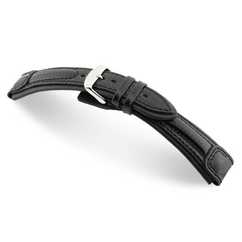 Black RIOS1931 Montreal, Carbon Sport Watch Band with Black Stitching | Panatime.com