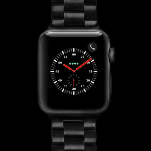 PVD (Black) Heavy Weight Metal Link Watch Strap for Apple Watch | Panatime.com