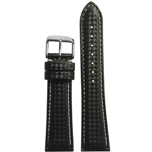 24mm PM Black Carbon Fiber Style Sport Watch Strap with Contrast Stitching | Panatime.com