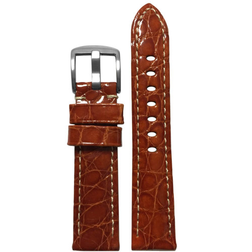 20mm Rou Glossy Genuine Crocodile Skin Padded Watch Strap with White Stitching | Panatime.com