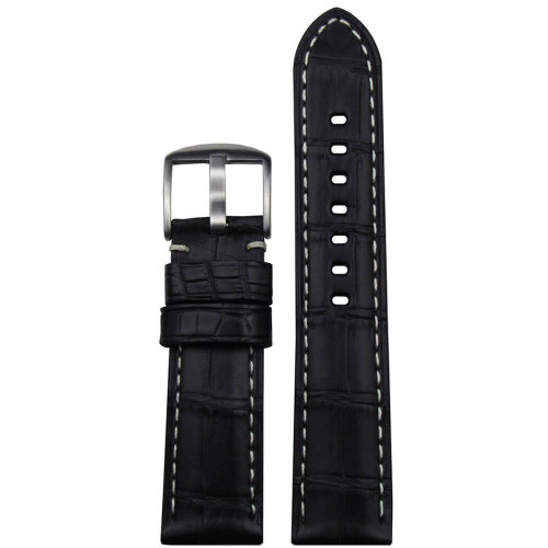 24mm Black Matte Genuine Louisiana Alligator Skin - Padded, White Stitching | Panatime.com