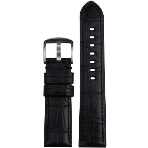22mm Black Matte Genuine Louisiana Alligator Skin - Padded, Match Stitching | Panatime.com