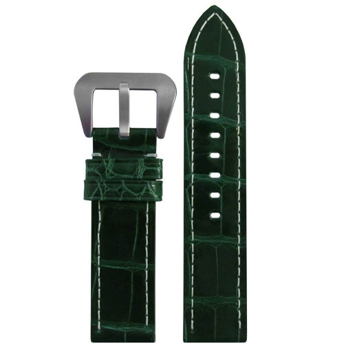 20mm Green Glossy Genuine Alligator Skin - Flat, White Stitching | Panatime.com