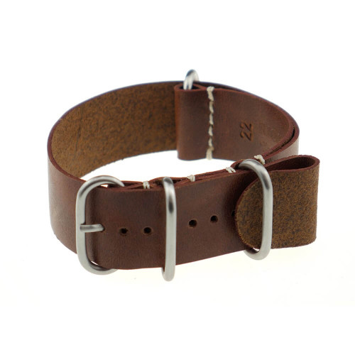 Mahogany RIOS1931 Copenhagen, Vintage Leather | One-Piece (4 Brushed Rings) | Panatime.com