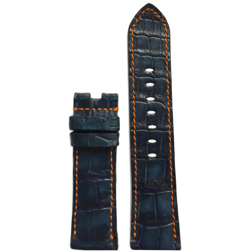 24mm Navy Genuine Louisiana Alligator Watch Strap with Orange Stitching for Panerai Deploy (Gunny Straps)| Panatime.com