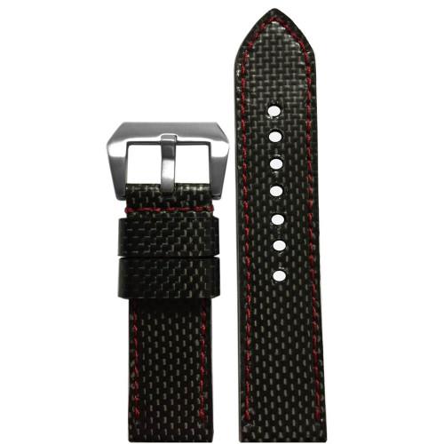 24mm - Carbon Fiber, Red Stitch (Handmade)  | Panatime.com