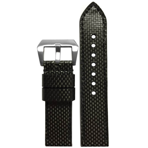 24mm - Carbon Fiber, Black Stitch (Handmade)  | Panatime.com
