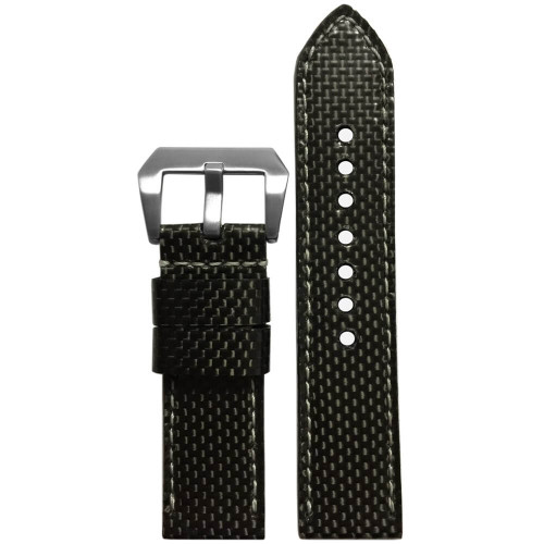 24mm - Carbon Fiber, White Stitch (Handmade)  | Panatime.com