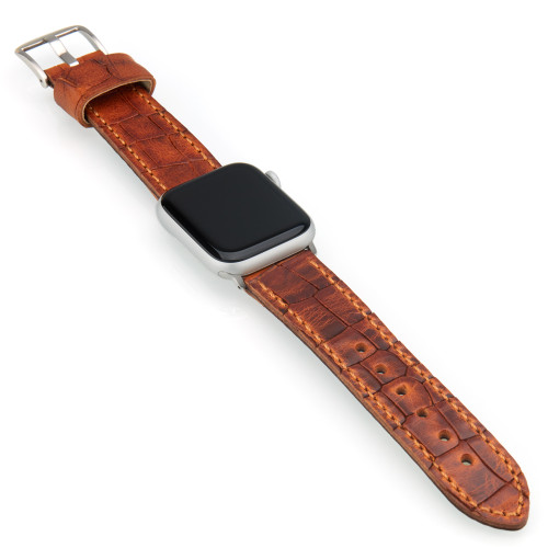 Golden Brown Vintage Gator Leather | Fits 42mm Apple Watches