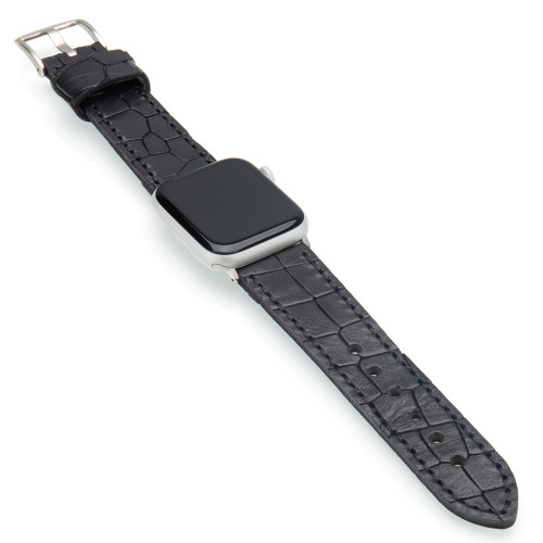 Black Vintage Gator Leather | Fits 42mm Apple Watches | Panatime.com