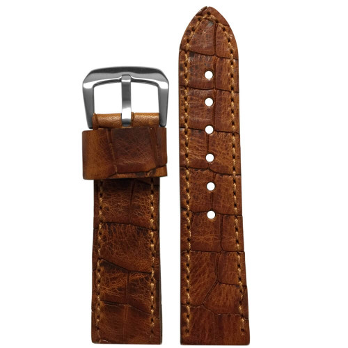 24mm Tan Hadley Roma MS916 - Genuine Oiled Vintage Leather Gator Watch Strap (MS916) | Panatime.com