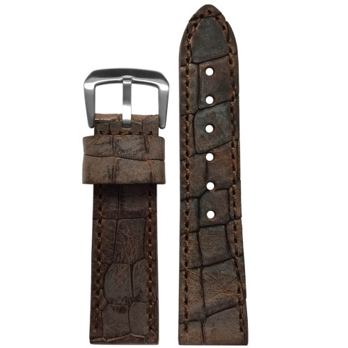 24mm Brown Hadley Roma MS916 - Genuine Oiled Vintage Leather Gator Watch Strap (MS916) | Panatime.com