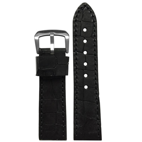 20mm Black Hadley Roma MS916 - Genuine Oiled Vintage Leather Gator Watch Strap (MS916) | Panatime.com