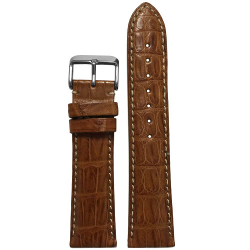 22mm Tan Genuine Caiman Crocodile (MS2012) Watch Strap | Handmade in USA | Panatime.com