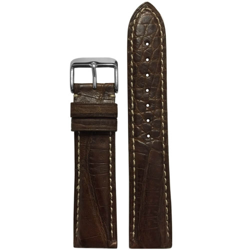 22mm Brown Genuine Caiman Crocodile (MS2012) Watch Strap | Handmade in USA | Panatime.com