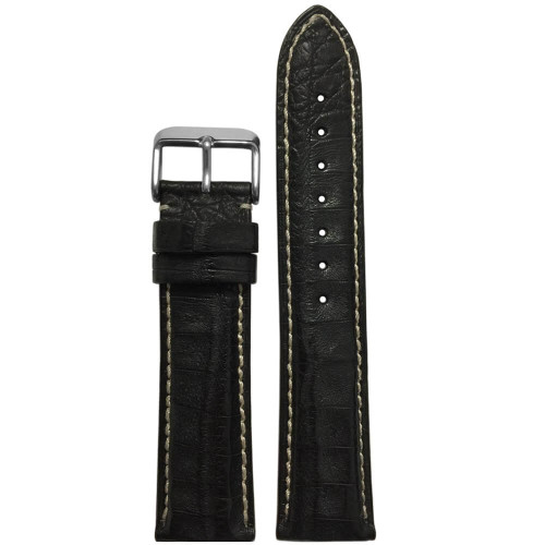 22mm Black Genuine Caiman Crocodile (MS2012) Watch Strap | Handmade in USA | Panatime.com