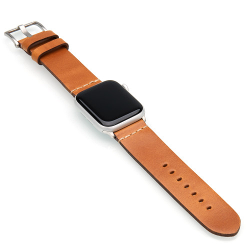 Light Brown Vintage Calf Leather Watch Band | For 38mm Apple Watch