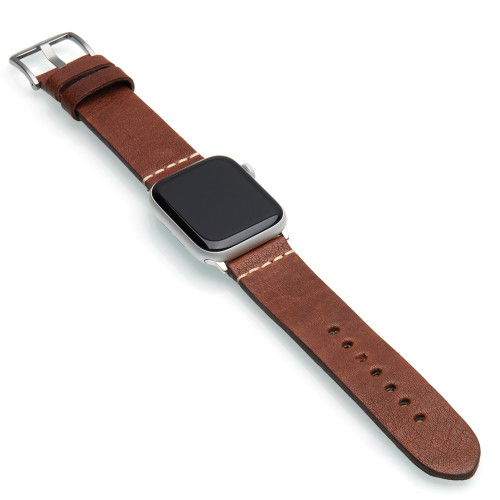 Classic Brown Vintage Calf Leather Watch Band | For 42mm Apple Watch