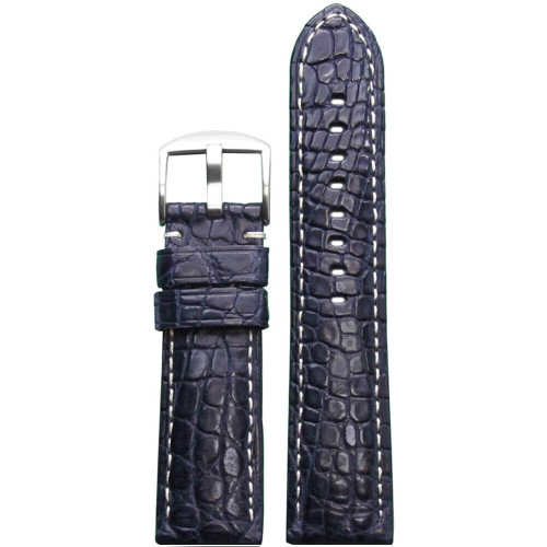 24mm Dark Blue Matte Genuine Crocodile Skin Padded Watch Strap with White Stitching | Panatime.com