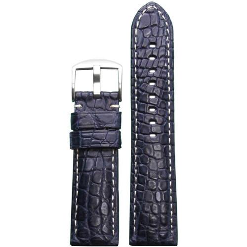 24mm Dark Blue Matte Genuine Crocodile Skin Padded Watch Strap with White Stitching | Panatime.com