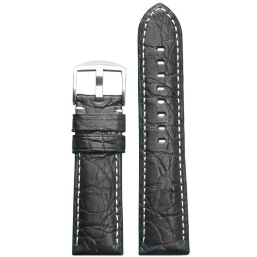 24mm Black Matte Genuine Crocodile Skin Padded Watch Strap with White Stitching | Panatime.com