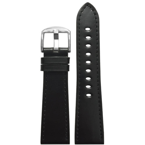 22mm Black Shell Cordovan Leather Watch Band (MS857)