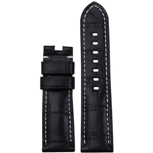 24mm Black Matte Louisiana Alligator Watch Strap with White Stitching for Panerai Deploy | Panatime.com