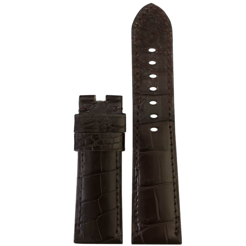 24mm Dark Brown Matte Louisiana Alligator Watch Strap with Match Stitching for Panerai Deploy | Panatime.com