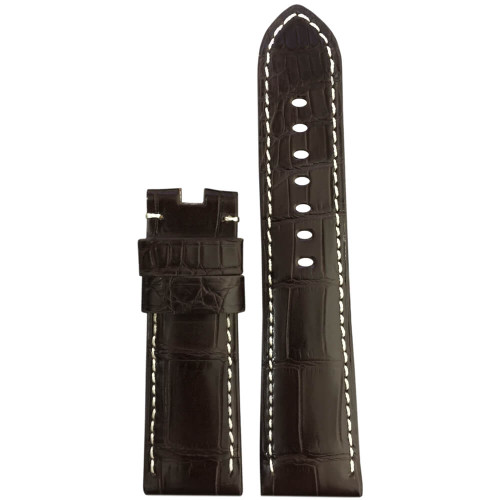 24mm Dark Brown Matte Louisiana Alligator Watch Strap with White Stitching for Panerai Deploy | Panatime.com